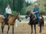 Author & husband on horses